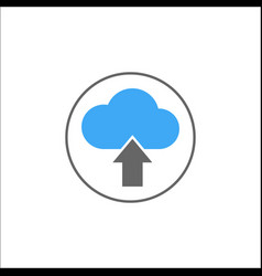 Upload solid icon mobile sign and cloud pictogram vector