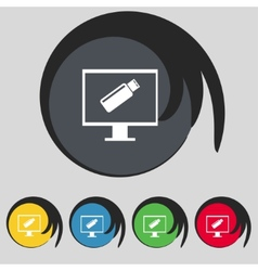 usb flash drive and monitor sign icon Video game vector image