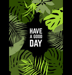 Vertical frame tropical leaves vector
