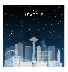 winter night in seattle night city in flat style vector image