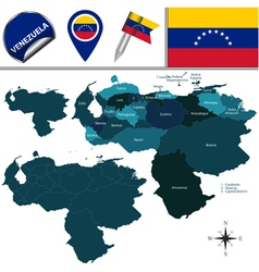 Venezuela map with named divisions vector