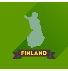 Flat icon with long shadow finland map vector