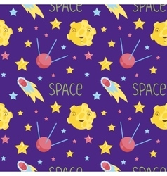 Outer space cartoon seamless pattern vector
