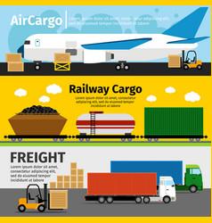 Cargo transportation banners logistics sea air vector