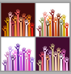 Set of colorful volunteers caring up hands hearts vector
