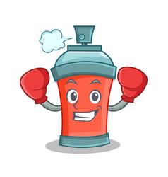 Boxing aerosol spray can character cartoon vector