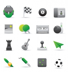 Green entertainment icons vector