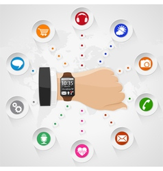 Smart watch with applications vector