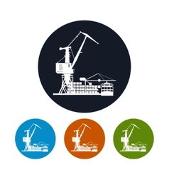 Cargo container ship with cargo crane vector
