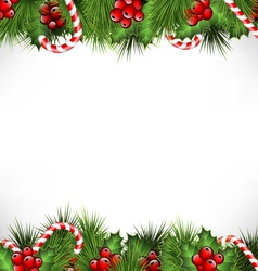 Holly with pine and candys isolated on white vector