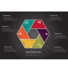 Infographic scribble hexagon vector