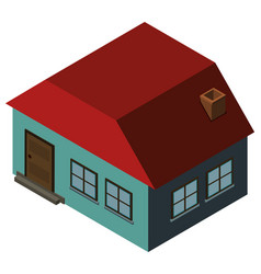 3d design for blue house with red roof vector image vector image