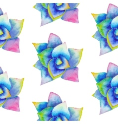 Watercolor seamless pattern with succulent vector