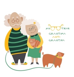 Elderly couple with their dog vector