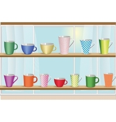 Set of coffee and tea colorful cups vector