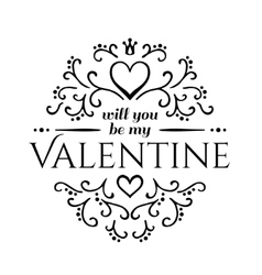 Will you be my valentine with floral ornament vector