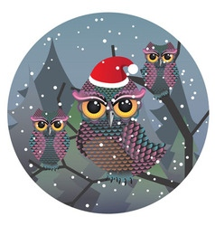 Cute christmas owl3 vector