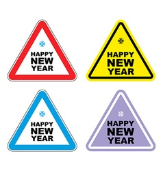 Attention happy new year sign warning holiday vector
