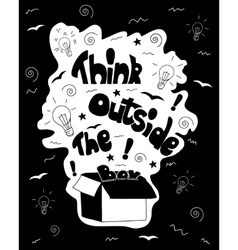 Think outside the box calligraphy black and white vector