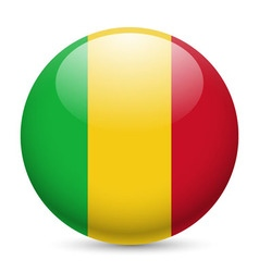 Round glossy icon of mali vector