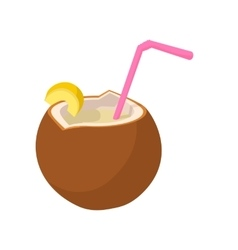 Coconut cocktail icon cartoon style vector