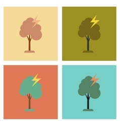 Assembly flat icons nature lightning tree vector