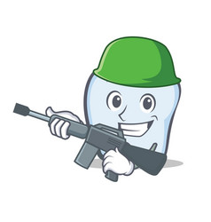 Army tooth character cartoon style vector