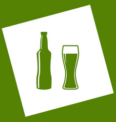 Beer bottle sign white icon obtained as a vector