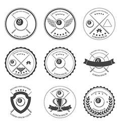 Billiard design elements and badges set vector image vector image