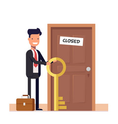 Businessman or manager with more keys standing vector
