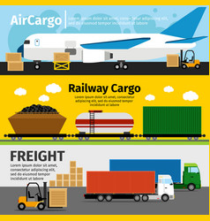 Cargo transportation banners logistics sea air vector