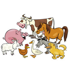 Cartoon farm animal characters group vector