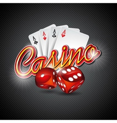 casino with dices and poker card vector image vector image