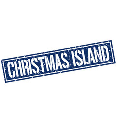 Christmas island blue square stamp vector