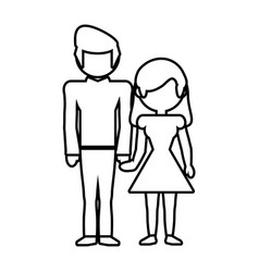 couple parents family member outline vector image