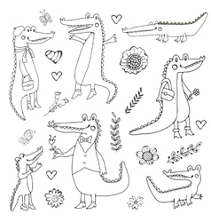 Cute collection of hand draw crocodiles vector image vector image
