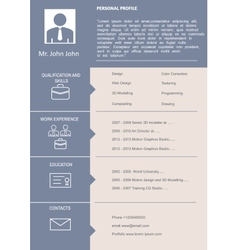 CV Curriculum Vitae Template vector image vector image