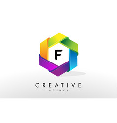 f letter logo corporate hexagon design vector image vector image