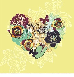 floral postcard with heart vector image vector image