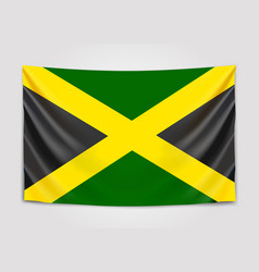 Hanging flag of jamaica jamaica national flag vector