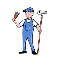 House painter with paint roller and paintbrush vector