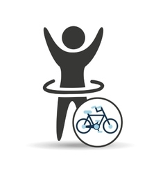 man hand up silhouette with bycicle icon design vector image