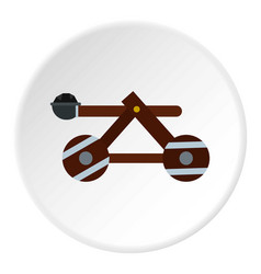 Medieval siege catapult icon circle vector