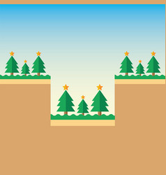 Mountain christmas tree vector