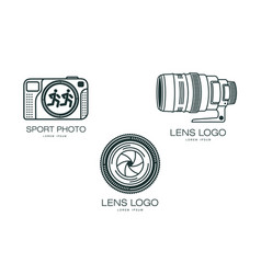 photo camera icon set isolated vector image vector image