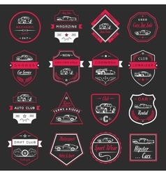 Set of vintage car badges and sign vector