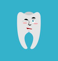 Tooth winks emoji teeth emotion cheerful isolated vector