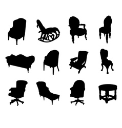 Victorian chair silhouettes vector