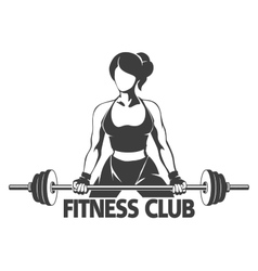 Woman with barbell fitness emblem vector