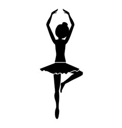 silhouette with dancer pirouette fifth position vector image